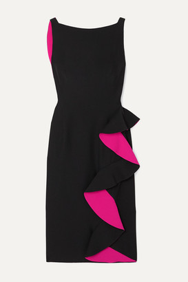 Alexander McQueen Ruffled Two-tone Crepe Dress - Black