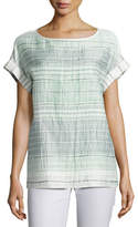 Lafayette 148 New York Lori Short-Sleeve Palmetto Crinkle-Stripe Blouse, Multi Pattern