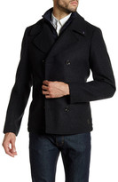 Scotch & Soda Double Breasted Layered Genuine Leather Brand Patch Coat
