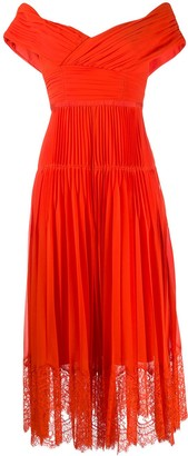 Self-Portrait Off-Shoulder Pleated Dress