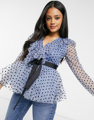 Forever U dobby spot ruffle blouse with contrast waist tie in powder blue