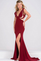 Jovani Fitted Jersey High Slit Dress with Sheer Panel JVN45911