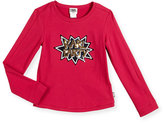 Karl Lagerfeld Long-Sleeve Party Tee, Cranberry, Size 6-10