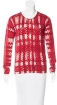 Prada Scoop Neck Tweed Print Cardigan