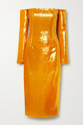 LAPOINTE - Off-the-shoulder Sequined Stretch-knit Midi Dress - Orange