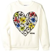 Moschino Floral Heart Sweat Top (Kid) - Cloud - 4