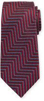 Ermenegildo Zegna Geometric Herringbone Silk Tie, Red/Silver