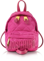Moschino Fuchsia Quilted Nylon Mini Backpack w/Logo