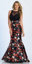 Dave and Johnny Floral Print Mermaid Keyhole Open Back Beaded Prom Dress