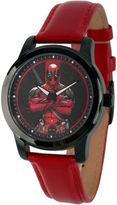 Marvel Mens Deadpool Red Dial Leather Strap Watch