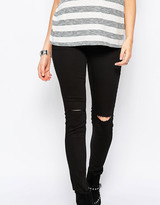 New Look Maternity Over The Bump Busted Knee Jeans