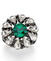 Fiorelli Costume R3396, Clear and Green Crystal Gunmetal Flower Adjustable Ring
