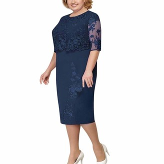 DEELIN Dresses Women's Gift Fashion Lace Elegant Mother of Bride Dress Knee Length Round Neck Evening Party Solid Plus Size Casual Dress for Women(Navy 4XL)