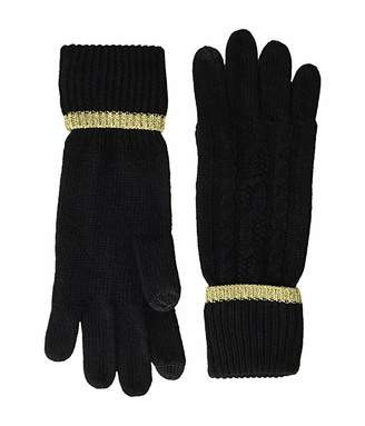 Lauren Ralph Lauren Tipped Cable Touch Gloves (Black/Gold) Liner Gloves