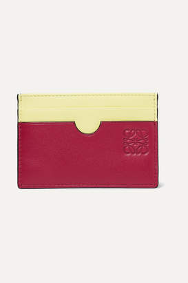 Loewe Color-block Leather Cardholder - Red