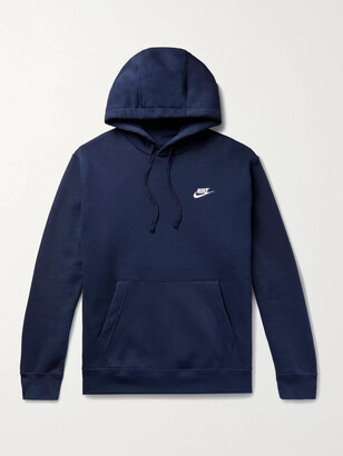 Nike Club Logo-Embroidered Fleece-Back Cotton-Blend Jersey Hoodie