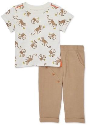 Wonder Nation Baby Boy Print T-Shirt & Harem Pants, 2pc Outfit Set (Baby Boys)
