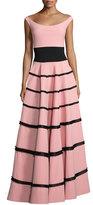 La Petite Robe di Chiara Boni Nicoletta Tiered Fringe Jersey Gown, Pink/Black