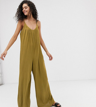 Asos Tall DESIGN Tall low back jumpsuit in crinkle-Green