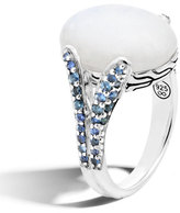 John Hardy Classic Chain Rainbow Moonstone Ring with Blue Sapphires