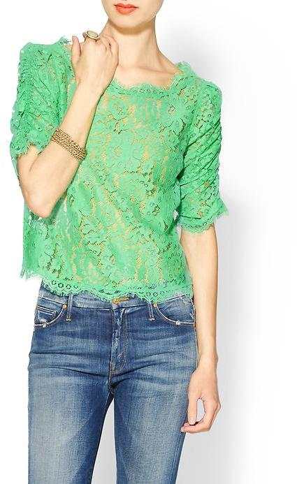 Joie Fanny Scalloped Lace Top