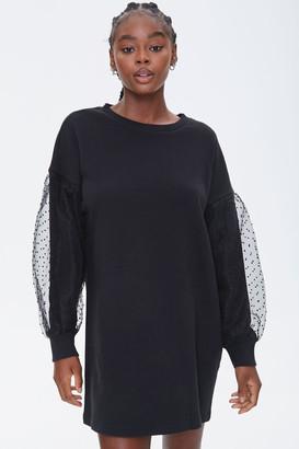 Forever 21 Clip-Dot Balloon-Sleeve Sweatshirt Dress