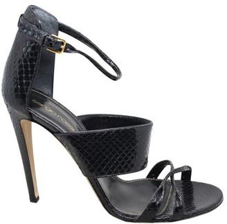 Sergio Rossi Black Snakeskin Ankle Strap Buckle Sandals Size 41