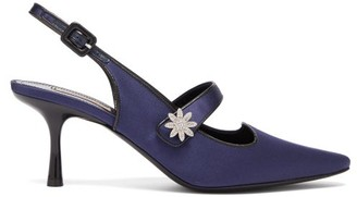 Fabrizio Viti - Davis Crystal-daisy Satin Mary-jane Pumps - Navy