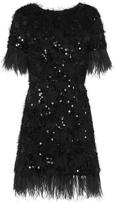 macgraw Nocturnal Sequined And Feather-Trim Dress