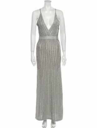 Herve Leger Printed Long Dress Silver