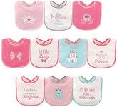 Luvable Friends Pink & Teal Princess Waterproof Bib Set