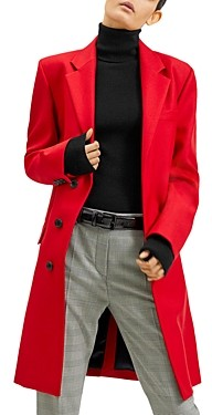 Barbara Bui Concealed Front-Button Notch-Lapel Coat