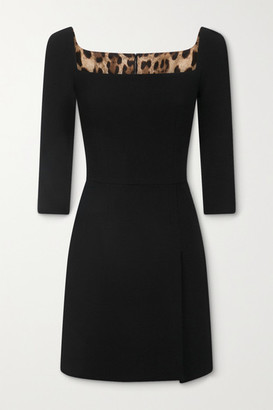 Dolce & Gabbana Wool-blend Crepe Mini Dress - Black