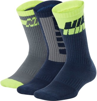 Nike Boys 5-11 3-Pack Colorblock Crew Socks