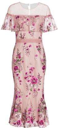 Marchesa Floral Glittered Tulle Midi Dress