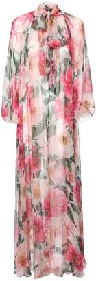 Dolce & Gabbana Camelia Print Sheer Silk Caftan Dress