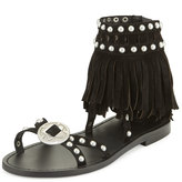 Ash Mary J Suede Fringe Sandals, Black