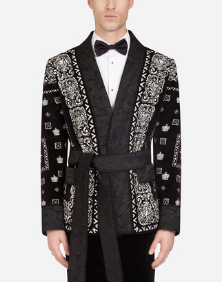 Dolce & Gabbana Velvet Robe Jacket In Bandana Print