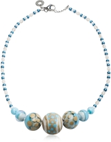 Antica Murrina Veneziana Papaya 2 Light Blue Pastel Murano Glass Choker