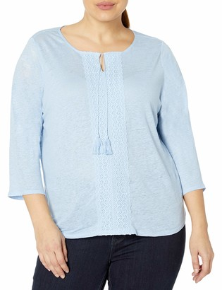 NYDJ Women's Plus Size 3/4 Sleeve Linen Lace Trim Henley