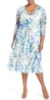 Komarov Plus Size Women's Print Three-Quarter Sleeve Chiffon A-Line Dress