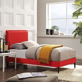Modway Camille Atomic Red Fabric Platform Bed with Round Tapered Legs