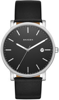 Skagen Men's Hagen Black Leather Strap Watch 40mm SKW6294