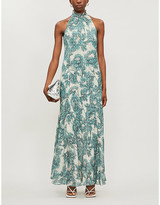 Diane von Furstenberg Leeann halterneck floral-print silk maxi dress