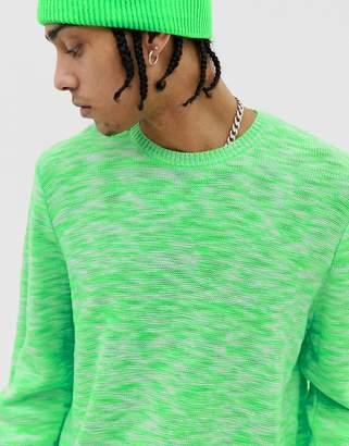 Asos Design DESIGN textured space dye knit sweater in neon green