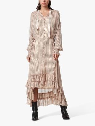 AllSaints Lara Polka Dot Ruffle Midi Dress