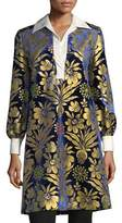 Tory Burch Thelma Long-Sleeve Cosmic Floral Foiled Velvet Dress