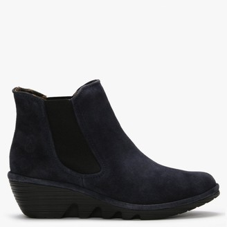 Fly London Phil Navy Suede Wedge Chelsea Boots