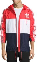 adidas Logo Colorblock Wind-Resistant Track Jacket, Red/Navy/White