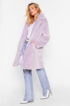 Nasty Gal Womens Waiting Fur Tonight Faux Fur Longline Coat - Beige - S